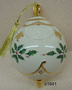 Lenox 2012 Annual Holiday Ball, Holly and Berries Ornament.