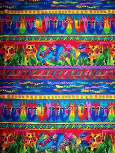1/2 YD Laurel Burch Fabric Jungle Songs Bright Border Stripe 2003 #LaurelBurch