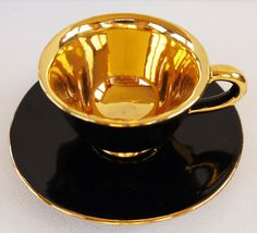 Italian Coffee Cup/ Gilt and Black.