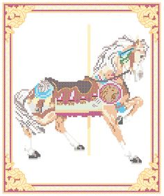 Carousel Horse Cross Stitch Pattern Philadelphia Toboggan Co., King's Dominion…