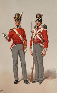 Officer and Private of the 40th (2nd Somersetshire) Regiment of Foot in 1812. From Historical Records of the 40th (2nd Somersetshire) Regiment. 1st  Battalion on the American coast from January to March 1815. At New Orleans but not engaged. Pale buff facings, gold buttons for officers, no lace. Men's lace square ended with a red and black line. When they sailed for North America, the 40th received militia knapsacks, which they had no time to  modify or repaint.