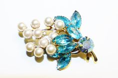 Vintage Aquamarine Navettes Faux Pearls Brooch by RomantiqueTouch, $18.00
