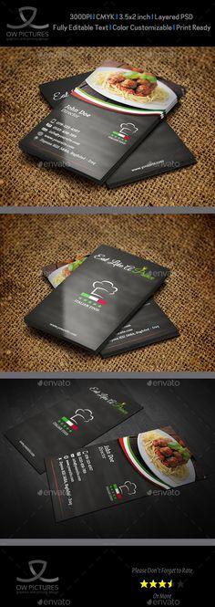 Italian Restaurant Business Card Template PSD #design Download: http://graphicriver.net/item/italian-restaurant-business-card-template/13405136?ref=ksioks