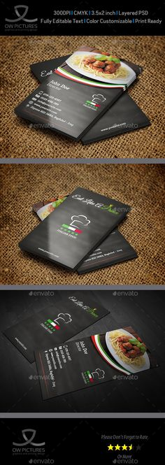 Italian Restaurant Business Card Template PSD #design Download: http://graphicriver.net/item/italian-restaurant-business-card-template/13405136?ref=ksioks