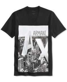 226690fc0c6 Armani Exchange Men s City Graphic-Print Logo Cotton V-Neck T-Shirt Men - T- Shirts - Macy s