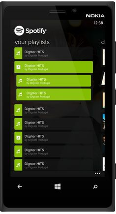 example of accordian for W8 - Spotify for Windows Phone (concept 2) on App Design Served