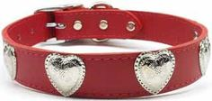 Western Heart Leather Dog Collar - Red Heart Leather Collar with a Western Flair!  Mirage is internationally known for the quality and durability of their pet collars and leads. Made in the USA using superior grade leather in many fashionable colors. Large dog sizes.Leads are available in 1/2 or 3/4 inch width, 4 ft in length, leads do not have embellishments.1