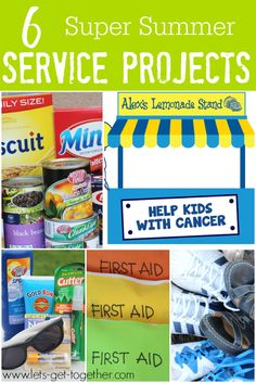 6 Super Summer Service Projects from Let's Get Together - for #youthgroup activities, #familyreunions or anyone looking to add a little service to the summer fun. Especially love the idea of the lemonade stand for the kiddos!!