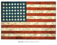 Jasper Johns was born in America, on May 1930 in Augusta, Georgia to be exact. As a boy, he knew he would be an artist one day. So when he grew up, he moved to New York and studied art. Jasper Johns became famous for painting ordinary things that. American Flag Wall Art, Large American Flag, American Art, American Dreams, American Pride, Jasper Johns, Willem De Kooning, Art Pop, Robert Rauschenberg