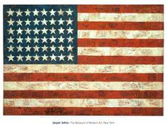 FLAG, 1954, Jasper Johns (Augusta, Georgia, 15 de mayo de 1930) es un pintor, escultor y artista gráfico estadounidense que ha integrado a su expresión pictórica una serie de elementos del Arte Pop.