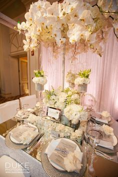 43 stunning wedding table centerpieces ideas for your big day 00114 Wedding Table Centerpieces, Wedding Reception Decorations, Table Decorations, Unique Centerpieces, Wedding Arrangements, All White Wedding, Dream Wedding, Dream Party, White Weddings