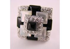 Square Shaped Mother of Pearl and White CZ Fashion Ring, Size 7 $12.50