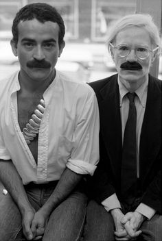 Victor Hugo (Halston's boyfriend) on the left, Andy Warhol on the right.