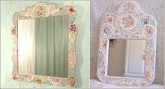 vintage jewlery and seashell decorated mirrors and frames | Awesome Ideas to Recycle Old China Plates for Home Decor
