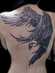 Explanation of the Raven Tattoo Designs: Best Raven Tattoo Design For Girl On… Insane Tattoos, Back Tattoos, Great Tattoos, Beautiful Tattoos, Body Art Tattoos, Bird Tattoo Back, Incredible Tattoos, Awesome Tattoos, Tattoo Girls