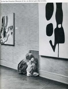 Children not looking at modern art.