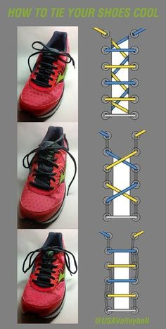 Fun ways to tie your shoes. Graphics by Ian Fieggen. #usavolleyball #volleyball #shoes