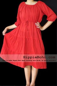No.001  - Red Gauze Cotton Peasant Plus Size Dress Curvy Fashion Size XS-5X Hippie Boho Bohemian Gypsy Red Peasant 3/4 Sleeve Plus Size Sundress Tiered Mini Skirt