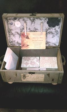 Vintage suitcase or luggage turned into a stationary container or possible card box