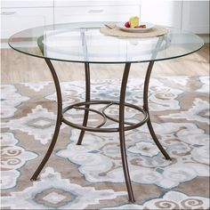 Pedestal Round Dining Table Glass Top Metal Kitchen Dinette Furniture Tables  | eBay