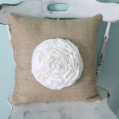 Cute burlap pillow from The Shabby Creek Cottage. She found her burlap at BurlapFabric.com