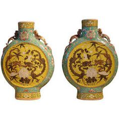 Pair of Chinese Famille Rose Porcelain Moon Flasks