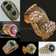 Jewellery Designs: Diamond Polki Broad Bangles