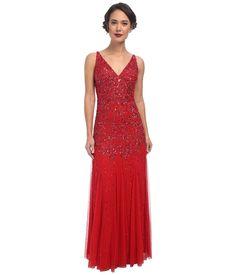Adrianna Papell - Sleeveless Beaded Gown (Grenadine) Women's Dress