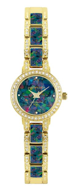 Women's gold tone round case watch, featuring crystals on case and bracelet, with highest grade Opal dial and band.