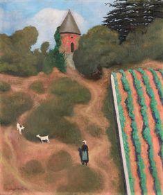 "Félix Vallotton, '""Côte Roussie et Tourelle, Champtoceaux"" - Scorched Hillside with Tower near the Village of Champtoceaux', Daxer & Marschall Pierre Bonnard, Mary Cassatt, Landscape Art, Landscape Paintings, Landscapes, Maurice Denis, Avant Garde Artists, Monet, Edouard Vuillard"