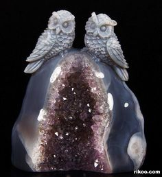 Agate Crystal Owls Carving, Love Never Dies