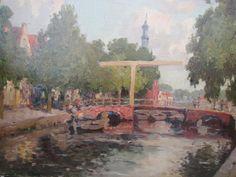 Amsterdam - olieverf op doek, c. 1935. J. Le Blanc, pseudoniem van de bekende kunstschilder Adriaan Christiaan Wiillem Terhell(1863-1949).