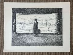black and White Lithography 'Le Voyage' by Topor image 2