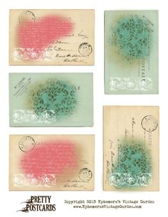 Ephemera's Vintage Garden: Free Printable - Pretty Postcards