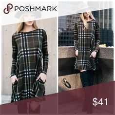 Olive Plaid Sweater Shift Dress S M L XL Perfect for fall!! Olive Plaid Sweater Shift Dress, hidden pockets, Available in sizes Small, Medium, Large, and XLarge.  No Trades, Price Firm unless Bundled.  BUNDLE 3 OR MORE ITEMS FOR 15 % OFF. Boutique Dresses Mini