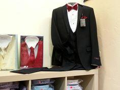 Tuxedo package sale $149.95 includes tuxedo, tuxedo shirt, and bow tie.