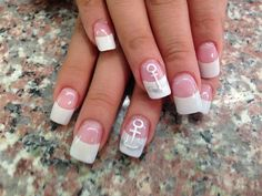 Anchor on French Manicure in white theme #slimmingbodyshapers How to accessorize your look Go to slimmingbodyshapers.com for plus size shapewear and bras