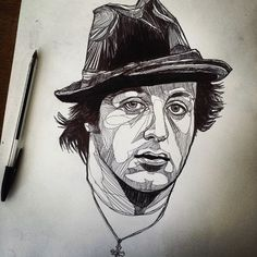 Rocky Balboa - Ink Drawing - Original artwork (facial line work tattoo ref) Rocky Balboa, Portrait Sketches, Drawing Sketches, Sketching, Outline Drawings, Art Drawings, Rocky Tattoo, Rocky And Adrian, Original Artwork