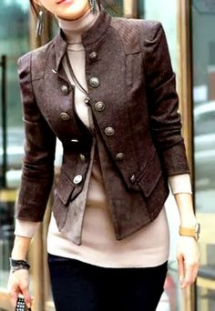 MODE THE WORLD: Cute 3/4 Sleeves Pocket Coat