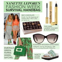 """Take a Peek: Nanette Lepore's Fashion Week Survival Handbag"" by polyvore-editorial ❤ liked on Polyvore"
