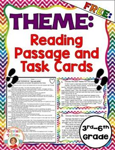 FREE Theme product for grade! This theme product includes a full-page… Reading Strategies, Reading Skills, Teaching Reading, Guided Reading, Teaching Tools, Learning, Teaching Resources, Teaching Ideas, 6th Grade Ela