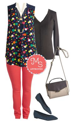 """Girl About Easton Tunic in Dots"" by modcloth ❤ liked on Polyvore featuring women's clothing, women, female, woman, misses, juniors, WorkWear, outfit, modcloth and separates"