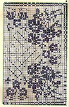 Kira scheme crochet: Scheme crochet no. Filet Crochet Charts, Crochet Cross, Crochet Diagram, Crochet Motif, Crochet Stitches, Crochet Patterns, Crochet Lace, Cross Stitch Rose, Cross Stitch Borders