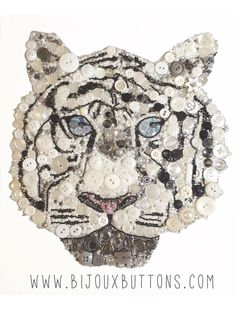 Bijoux Buttons White Tiger, Button Art Swarovski Rhinestones, Unique Gifts