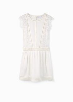 Blond-lace appliqué dress   MANGO