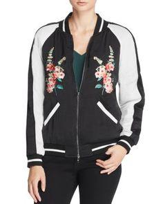 AQUA Floral Embroidered Bomber Jacket   Bloomingdale's