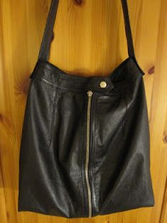 upcycled leather skirt transformed into bag