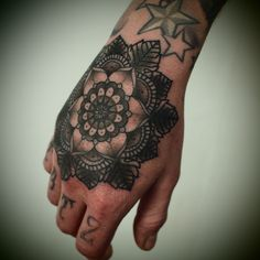 Geometric Flower Hand Tattoo, originally pinned by Lynnz Perry
