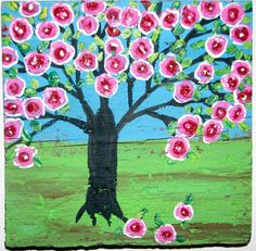 Folk Art Rose Tree Happy Tree  original painting on by icColors, $65.00