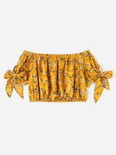 Bardot Ditsy Print Bow Tie Sleeve Crop Top